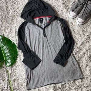 🌺univibe men's grey striped hooded pullover XL